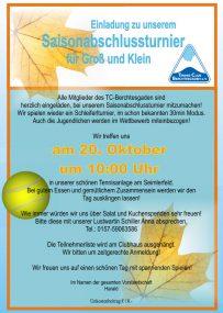 TCB-Saisonabschlussturnier am 20.10.19